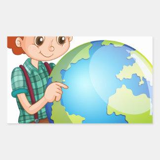 Little boy and the world rectangular sticker