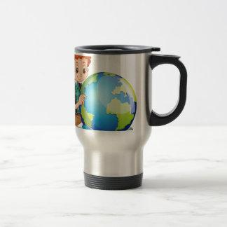 Little boy and the world travel mug