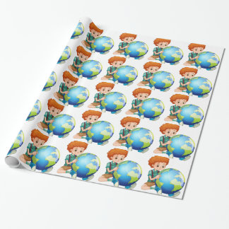 Little boy and the world wrapping paper