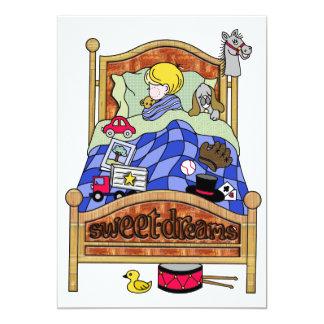 Little Boy Asleep in Bed Card