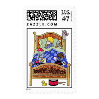 Little Boy Asleep in Bed Postage