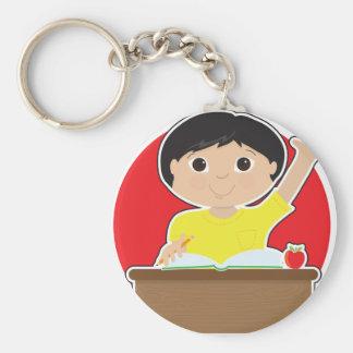 Little Boy at School Asian Basic Round Button Keychain