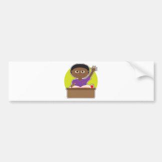Little Boy at School Black Bumper Stickers
