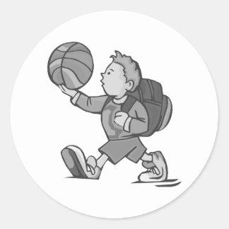 Little boy big basketball round sticker