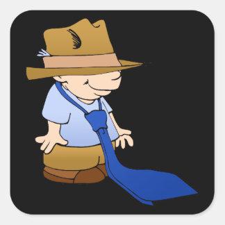 Little boy big tie & hat square sticker