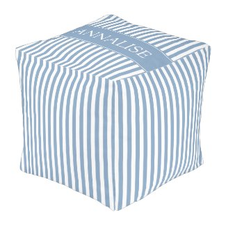 Little Boy Blue and White Stripe Personalized Pouf