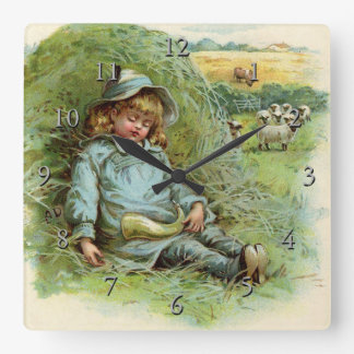 Little Boy Blue Nursery Rhyme Square Wall Clock