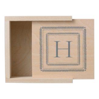 Little Boy Blue Square Wreath on White Monogram Wooden Keepsake Box