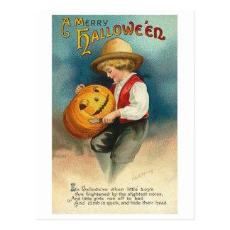 Little Boy Carving Pumpkin Post Card