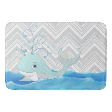 Beach Themed Little Boy Chevron Striped Bath Decor Cute Whale Bathroom Mat
