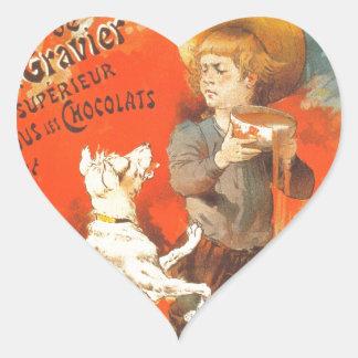 Little boy child puppy vintage French illustration Heart Sticker