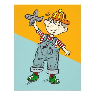 "Little Boy con el aeroplano Folleto 8.5"" X 11"""