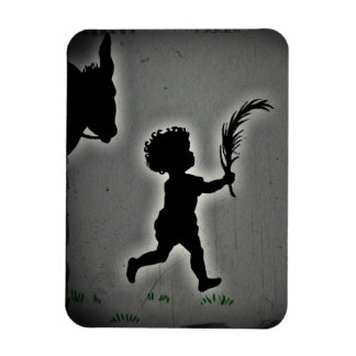 Little Boy con una rama de la palma Imán Foto Rectangular