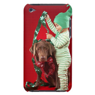Little boy decorating a dog barely there iPod case