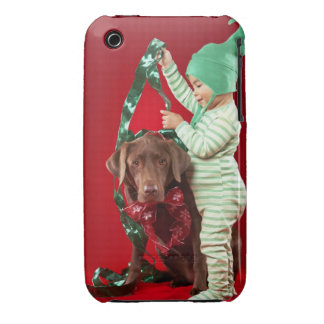 Little boy decorating a dog iPhone 3 Case-Mate case