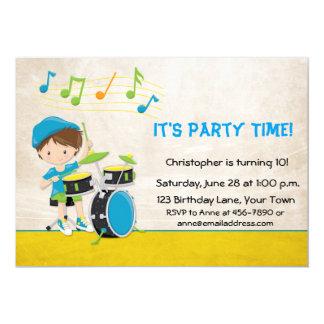 Little Boy Drummer Birthday 5x7 Paper Invitation Card