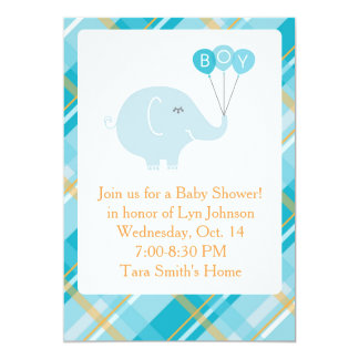 Little boy elephant custom baby shower invitation