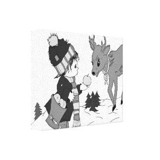 Little Boy Feeding Reindeer Stretched Canvas Prints