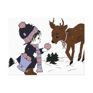 Little Boy Feeding Reindeer Canvas Print