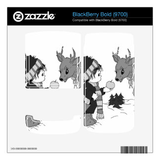 Little boy feeding reindeer in black and white decals for BlackBerry