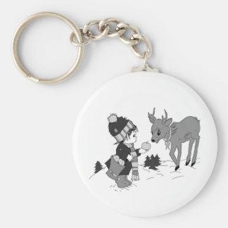 Little Boy Feeding Reindeer Keychain