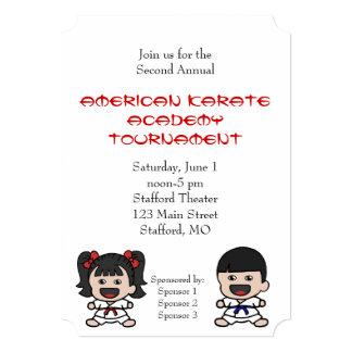 Little Boy & Girl Karate Tournament Invitation
