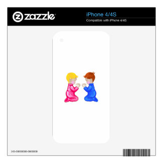 Little Boy & Girl Praying Decals For The iPhone 4