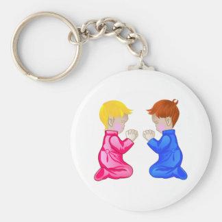Little Boy & Girl Praying Keychain