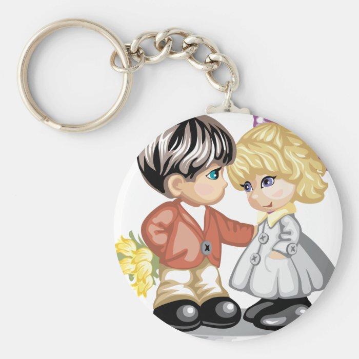 Little boy giving a little girl flowers keychains