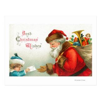 Little Boy Giving Santa a Letter Postcard