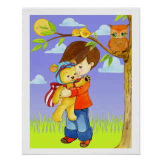Little Boy Giving Teddy Bear a Hug Poster