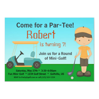 "Little Boy Golfer Birthday Party Invitation 5"" X 7"" Invitation Card"