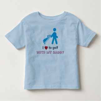 Little boy golfer pulling a blue cart toddler t-shirt