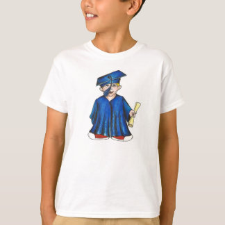 Little Boy Graduate Blue Cap Gown Graduation Tee