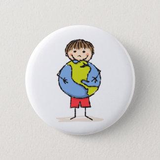 Little boy holding planet earth cute kids button