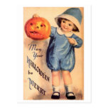 Little Boy Holding Pumpkin - May Your Halloween Be Postcards