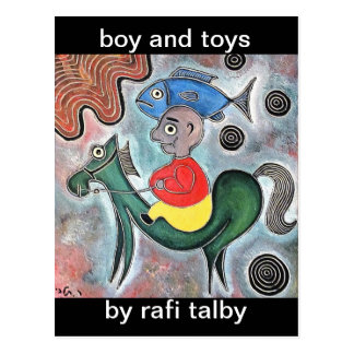 Little boy horse and a fish by rafi talby postcard