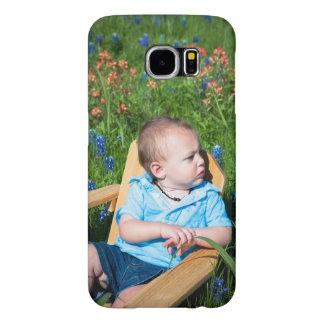 Little boy in a chair in a field of Bluebonnets. Samsung Galaxy S6 Case