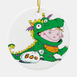 Little Boy in Dragon Costume for Halloween Ceramic Ornament