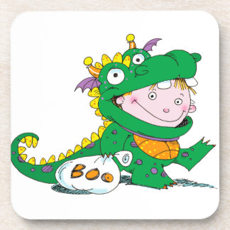 Little Boy in Dragon Costume for Halloween Coaster