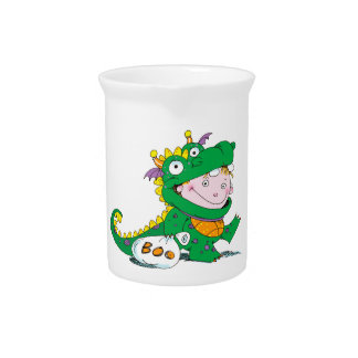 Little Boy in Dragon Costume for Halloween Pitcher