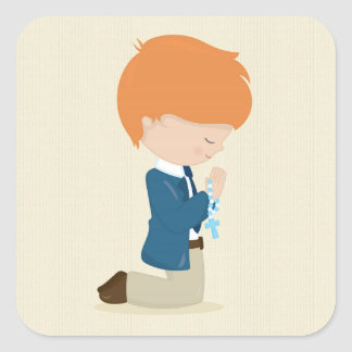 Little Boy in Suit, Tan, First Communion Square Sticker