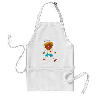 Little boy laughing on white adult apron