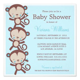 little boy monkeys baby shower invitation