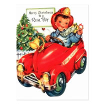 Little boy on a car toy, vintage holiday Christmas Postcard
