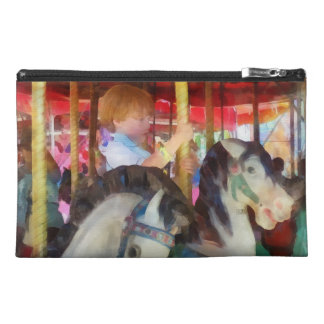 Little Boy on Carousel Travel Accessories Bags