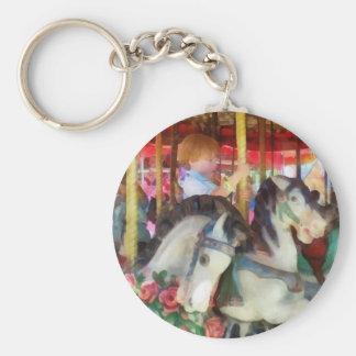 Little Boy on Carousel Basic Round Button Keychain