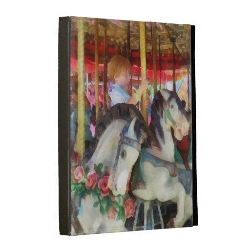 Little Boy on Carousel iPad Cases