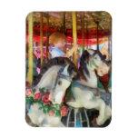Little Boy on Carousel Rectangle Magnet