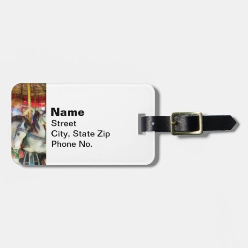 Little Boy on Carousel Tag For Luggage
